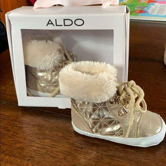25cafae24b Aldo Shoes | Gold And Fur Baby Girl Boots | Poshmark